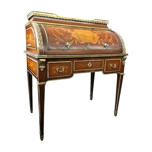 Superior 19th Century French Louis XVI Style Parquetry/Marquetry Cylinder Desk