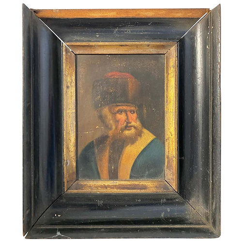 Wooden-Framed Picture of Hasidic Jew, 18th Century