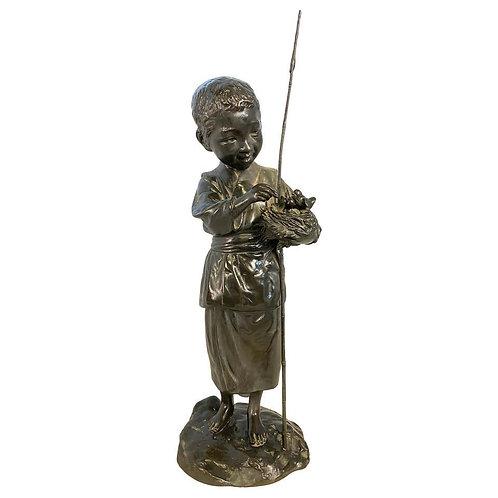 Bronze Boy Holding Bird Nest Statue, 20th Century