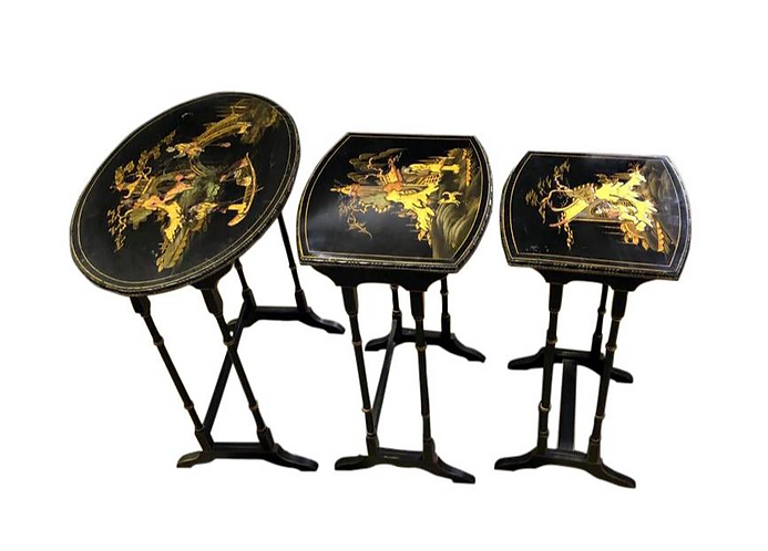 Set of Three Carved Chinese Chinoiserie Nested Tables
