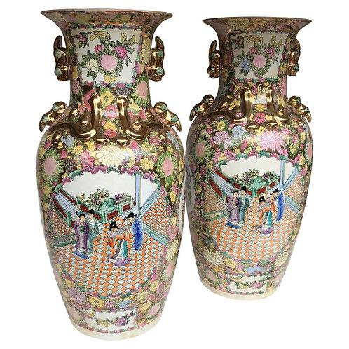 Pair of Large China Vases, 20th Century