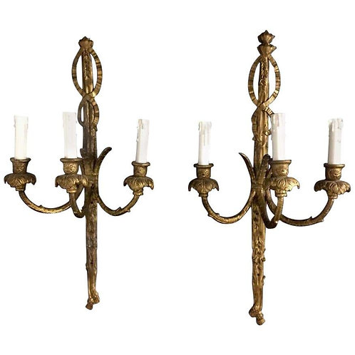 18th Century Rococo Giltwood Three-Light Wall Sconces