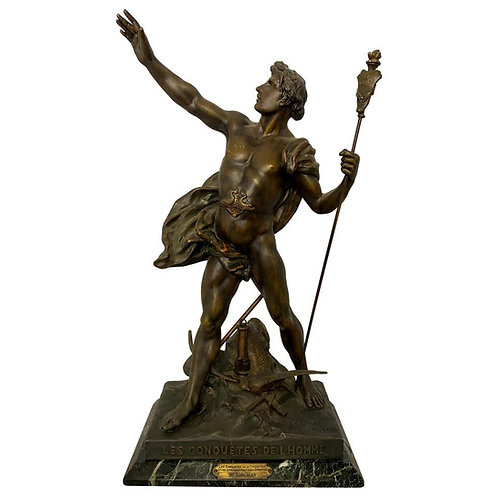 'Les conquettes de l'homme' Statue, 19th Century