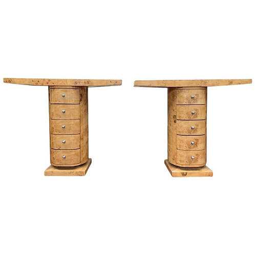 Pair of Art Deco Console Table Chest Drawers Blonde Walnut, 20th Century