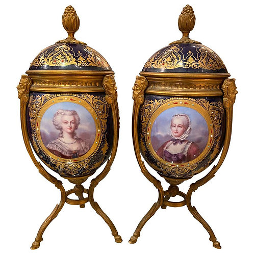 Antique Pair of 'Sèvres' Style Ormolu Mounted Vases and Covers, 1860