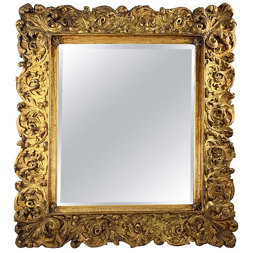 19th Century Large Carved Gilt Wood Mirror