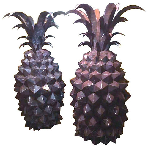A Pair Of Giant Steel Pineapples Sculptures