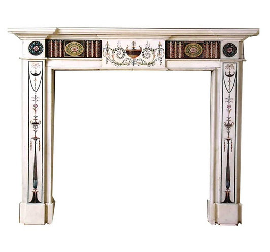 18th Century Bossi Hand-Carved Statuary Marble Fireplace with Scagliola Inlay