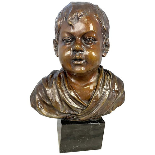 Bronze Bust of a Young Boy, Signed by O'Brian, 20th Century