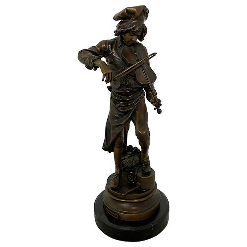 Lulli Enfant French Violin Player Sculpture, 20th Century