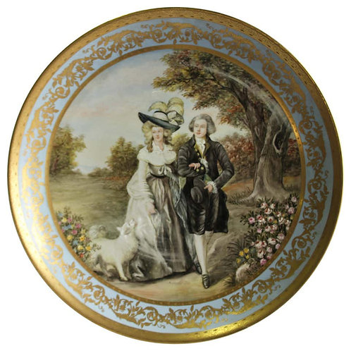 20th Century Austrian Porcelain Plaque, Vienna Charger Lady and Gentlemen,