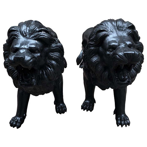 Pair of Italian Bronze Lions Medici Statues, 20th Century