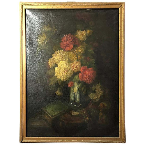 Bouquet of Carnations and Fruit Still Life, 19th Century
