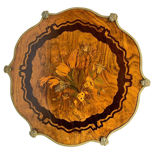 19th Century, French Walnut, Rosewood and Marquetry Inlaid Occasional Table