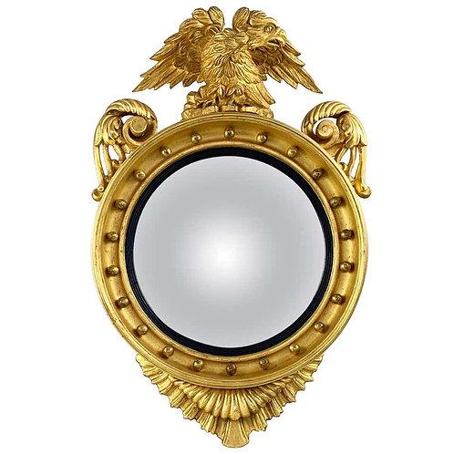 19th Century Impressive Regency Giltwood Carved Convex Wall Mirror