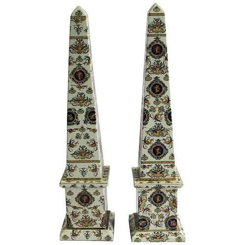 20th Century Pair of Italian Obelisks, Hand-painted porcelain