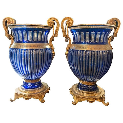 Pair of 20th Century Blue Bohemian Crystal Urns