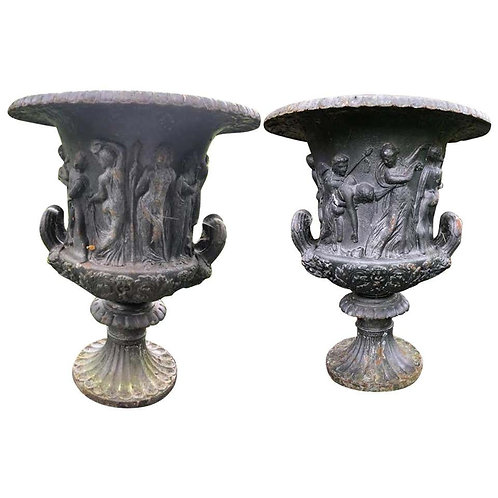 Pair of 19th Century Weathered Cast Iron Urns