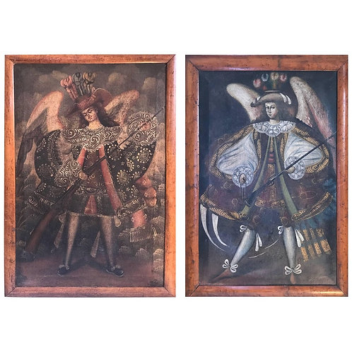Pair of 19th Century Oils on Canvas Depicting Two Winged Arc Angels