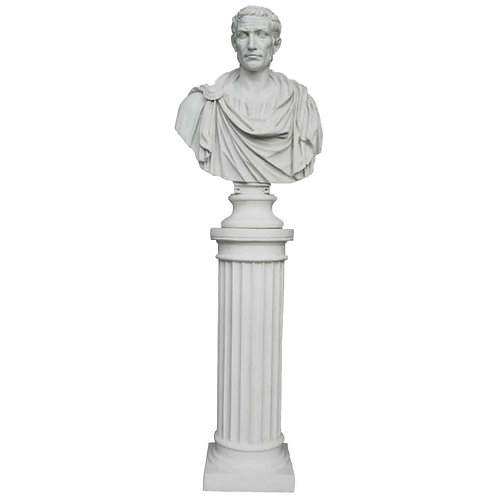 Julius Caesar Bust Sculpture 'in Toga' with Column, 20th Century