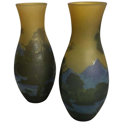 Pair of Emile Galle-Style Cameo-Cut Glass Vases, 20th Century