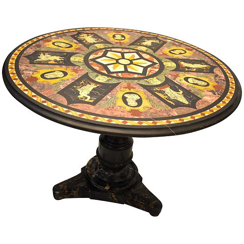 Mid-19th Century Italian Centre Table with Inlaid Marble Top