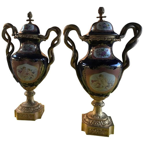 Pair of 20th Century Sevres Style Porcelain Ormolu Vases
