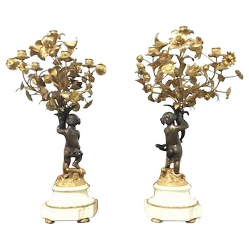 Pair of French 19 Century Cast Bronze Putti 'Cherub' Candelabras