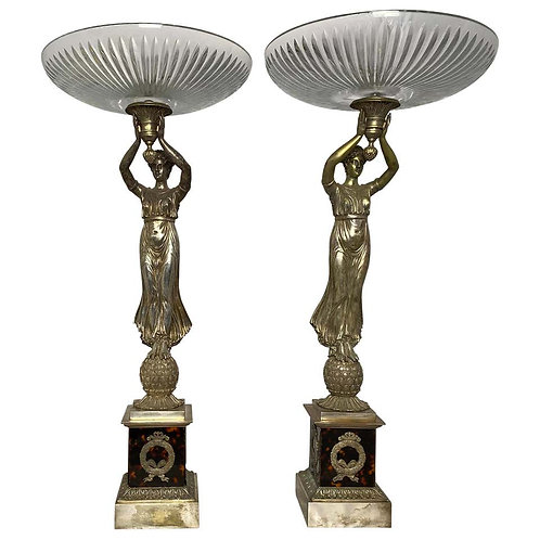 Pair of Silver Gilt Bronze French Tazzas with Tortoiseshell, 19th Century