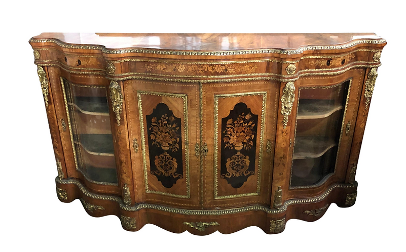 19th Century Walnut and Floral Marquetry Credenza
