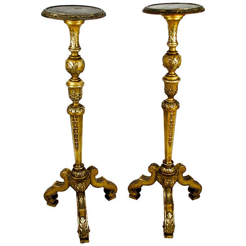 Pair of Italian 19th Century Silver Guilt Torcheres or Candlesticks