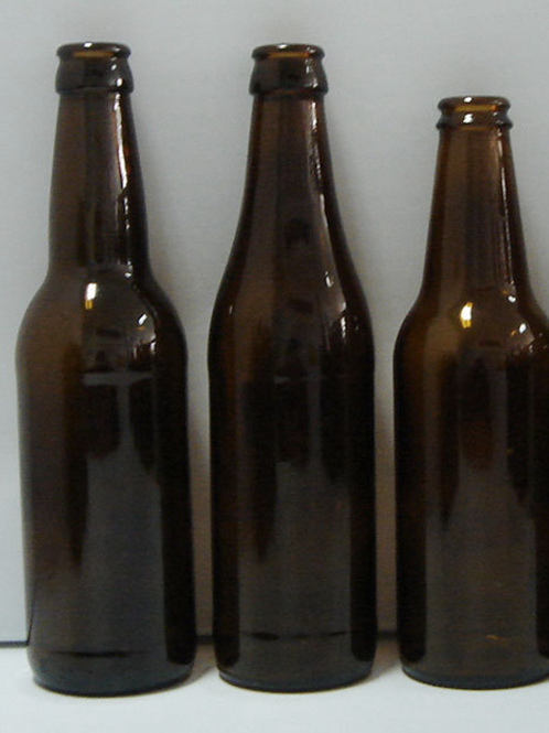 330ml Amber Glass Beer Bottle & Gold Crown Cap