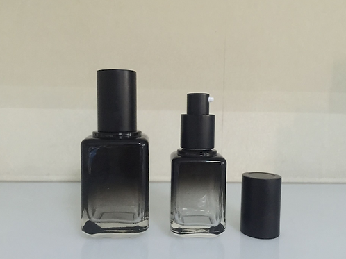 30ml 50ml square black glass pump bottle