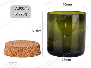 300ml Green Glass Candle Jar with Cork