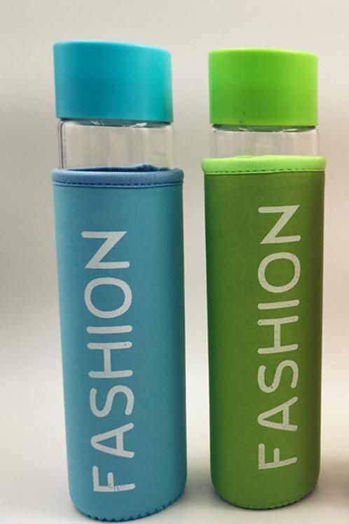 Fashion borosilicate glass water bottle with nylon sleeve