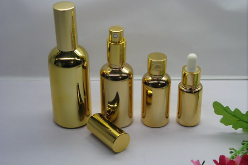 30ml UV electroplated metallic cylinder round essential oil glass dropper bottle