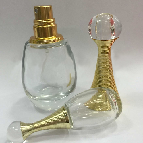 Wholesale water drop shape portable glass perfume bottle with gold spray cap
