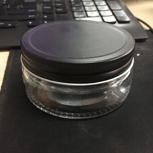200g 200ml big mouth cosmetic glass jar with black lid