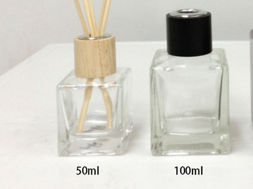 50ml 100ml 200ml Square Aroma Fragrance Reed Diffuser Glass Bottle with Wooden C