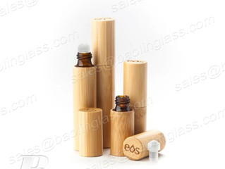 Bamboo Roller Bottle with Glass bottle  Glass Rollerball for Essential Oil