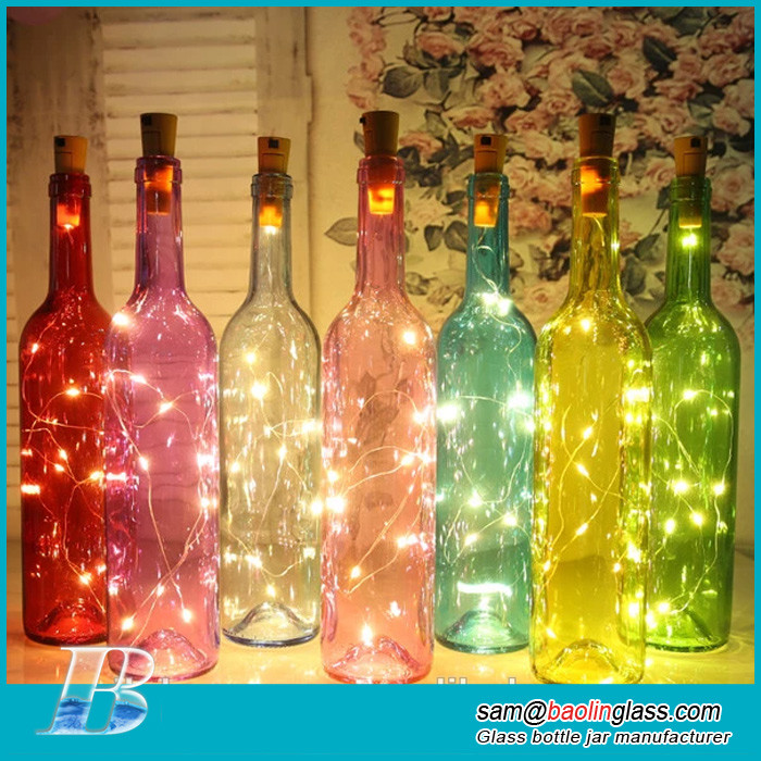 Colored glowing decorative glass bottle