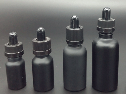 wholesale frosted matt black e-cig e liquid ejuice 30ml glass dropper bottles
