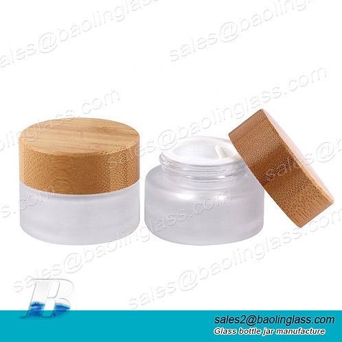 Round shape frosted clear cream glass bottles cosmetic empty container jar