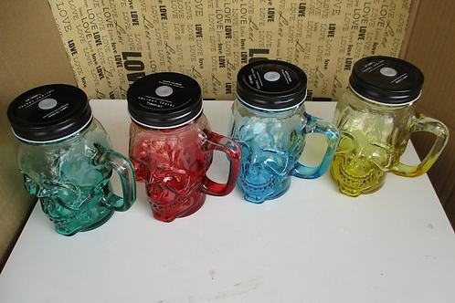 unique skull 450ml colored mason drinking jar