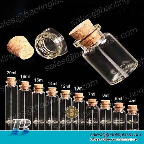 small mini glass wishing bottle with cork lid