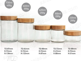 Clear Glass Bottle with Bamboo Lid for Food Storage
