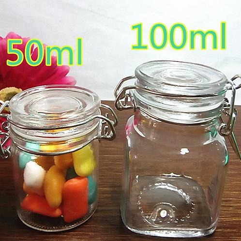 Mini Spice Glass Jars with Clamp