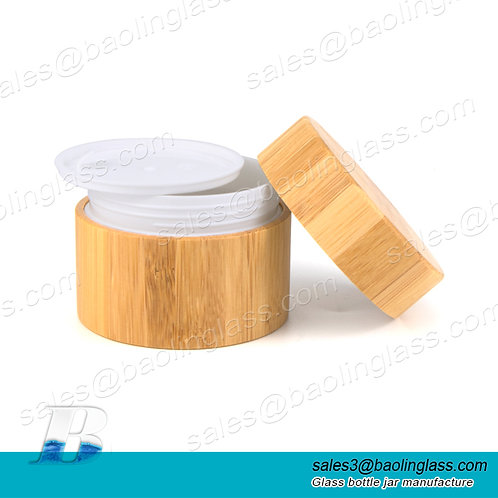 New 20g 30g bamboo cream jar cosmetic cream container glass jar for cosmestic