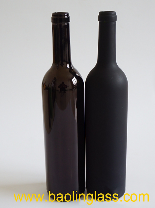 750ml frosted black glass red wine bottle