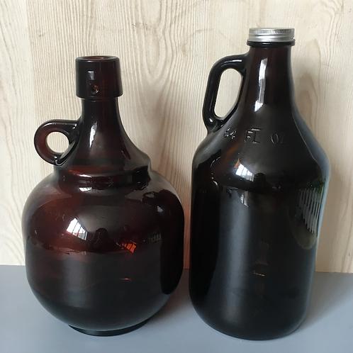 2L amber beer growler 64 oz brown mug